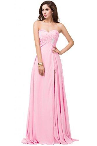 Sunvary Fucsia-doppio strato, tasca laterali a filo, per abiti da sera Gowns sera Pink