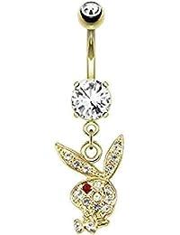 Chapado en oro botón lámpara de techo con cristales falsos del vientre Playboy pendientes largos con