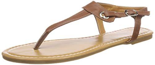 SANDALUP Flache Sandalen mit Metallschnalle für Damen