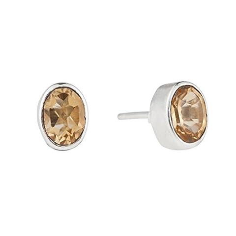 Silverly Femme Argent 925 Boucles d'oreilles Citrine Ovale 7x5mm Cut