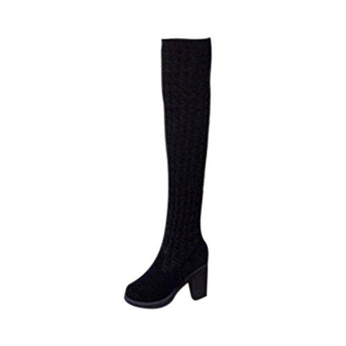 Lange Stiefel Damen, DoraMe Frauen Mode Stricken über Knie Stiefel Elastische Stretch Dick Ferse Stiefel Wolle Warme Stiefel (36, Schwarz) (Stretch-pu-knie-stiefel Schwarze)