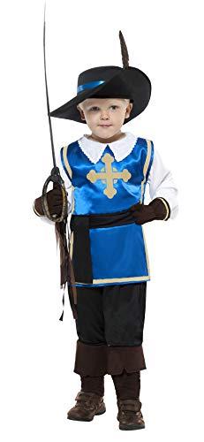 Smiffys Kinder Musketier Kostüm, Oberteil, Hose, Hut und Handschuhe, Größe: S, 22907 (Musketiere 3 Kostüm)