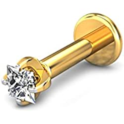 Candere By Kalyan Jewellers 18k (750) Yellow Gold and Diamond Joy Nose Pin