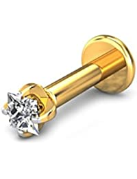 Candere By Kalyan Jewellers 18k (750) Yellow Gold and Diamond Joy Nose Pin for Women