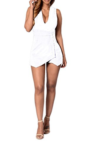 Grenouillères femmes col en V manches Bandage Backless Clubwear Bodycon court Jumpsuit Blanc