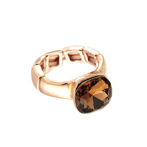 Sweet Deluxe Stretchring Diva, Rosegold/Coffee I Damen-Ring I Mode-Schmuck Ring für Frauen I Ringe Rings für Mädchen I modisches Design-Accessoires
