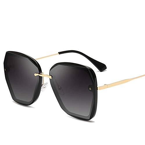 Sonnenbrille,Frauen Mann Randlose Cat Eye Rautenförmigen Rahmenlose Sonnenbrille Klare Farbige Linse Quadratische Sonnenbrille New Gold Schwarz