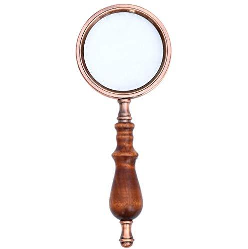 10X Messing-Handlupe mit Holzgriff und Echtglas, beste Leselupe für ältere Menschen,...