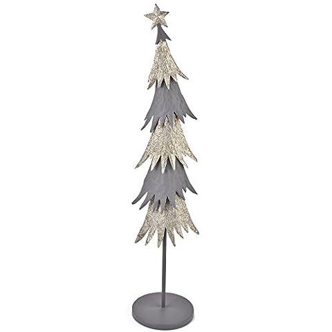 Weihnachtsbaum Xmas Deko Objekt Metall weiss grau Xmas (80x17x17cm)