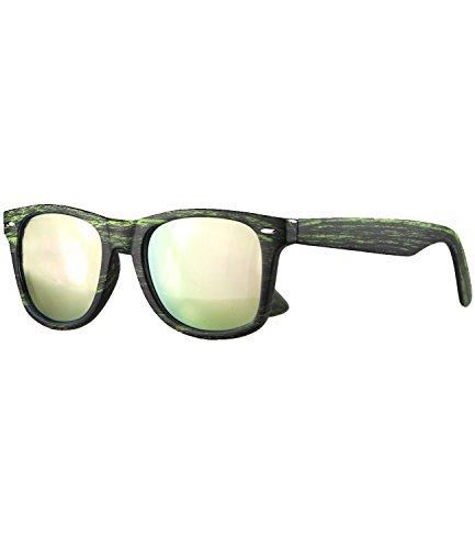 Caripe Retro Nerd Vintage Sonnenbrille Damen Herren getönt + verspiegelt - W-g (One Size, Holzoptik grün - rosa neon verspiegelt-525x)