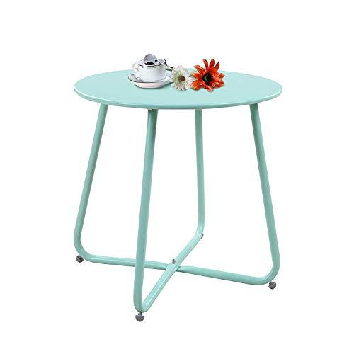 Lightyears Table D'appoint Ronde en Fer Forgé, Table D'appoint pour Café D'extérieur/D'intérieur Table D'appoint pour Plateau, Rouille - Bleu Clair
