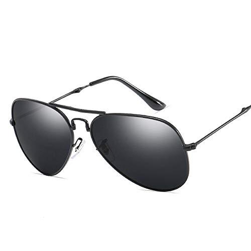 Männer Fahren Frosch Spiegel Fashion Classic Metall runde Rahmen Pilot gläser polarisierte Sonnenbrille für Brille (Color : Schwarz, Size : Kostenlos)
