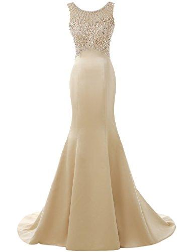 Solovedress Damen damen Langes Meerjungfrau Prom Kleid Perlen Abendkleider Brautkleid Brautjungfer (Champagner, Eur38) -