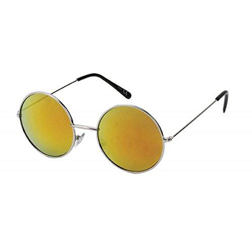 Sonnenbrille Round Glasses John-Lennon-Style 400 UV Metall bunt verspiegelt orange