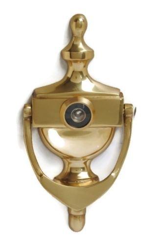 Aldaba para puerta de urna victoriana de latón pulido con visor para puerta incluido.