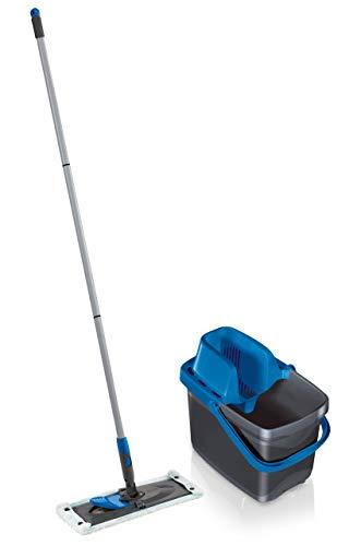 Leifheit Set Combi M micro duo mit rückenschonendem Wischer, Wischtuchpresse für effektives Auswringen, reinigungsstarker Bodenwischer mit Click-System, grey blue limited edition