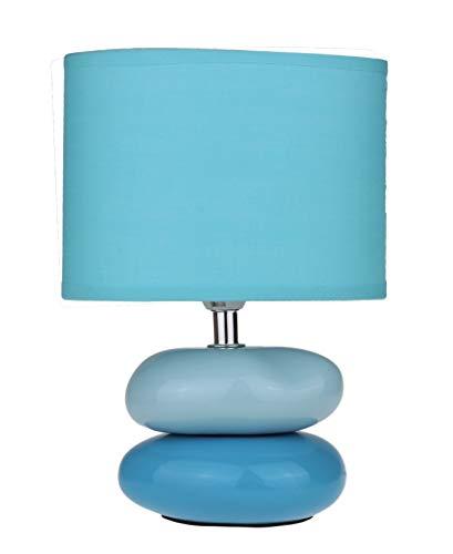 """Nachttischlampe""""Lea"""" Tischlampe klein ovaler Lampenschirm Keramik Steine (Blau)"""