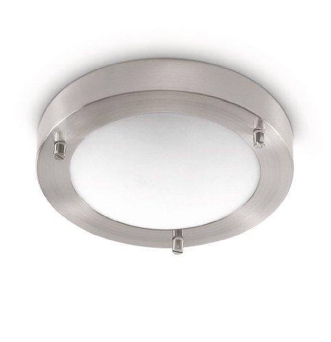 Philips Treats Lampada Bagno Soffitto, Alluminio, Diametro 18.5 cm, IP44, Lampadina Inclusa