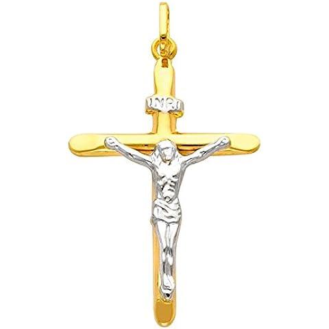 Piccoli Tesori - Pendente - Divine 14 ct Oro 585/1000 Two Tone Pendente Crocifisso