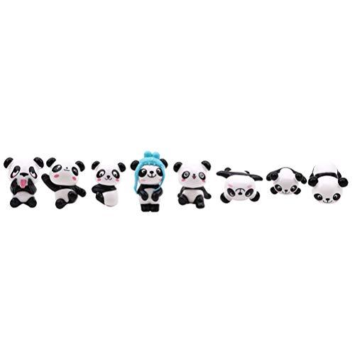 JIFNCR 8 Teile/Satz Miniatur Garten Ornament Nette Handgemachte DIY Panda Shaped Craft Puppe Spielzeug für Hochzeit Geburtstag Party Dekoration