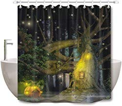 prz0vprz0v Surreal Shower Curtain, Halloween Bathroom Curtains, 3D Printing Spooky Forest Trees with Pumpkin Light Happy Halloween Night Picture, Waterproof Fabric 71 x 79 Inch with Hooks