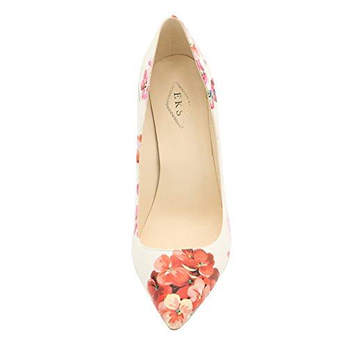 EKS Damen Fashion Print Spitze High Heels Kleid-Partei Hochzeit Pumps Pink