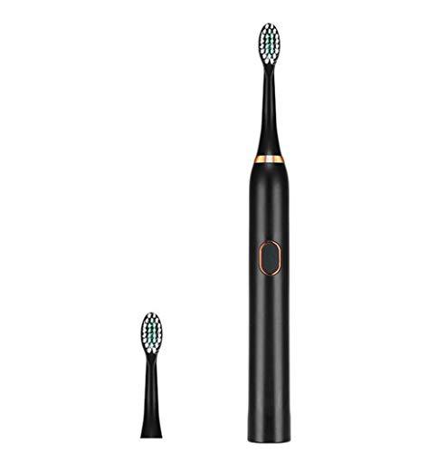 Elektrische Zahnbürste im 3-Gang-Modus, wiederaufladbar für Erwachsene, Reinigung als Zahnarzt mit Smart Timer, Schallzahnbürste mit USB, elektrische Reisezahnbürsten,Black