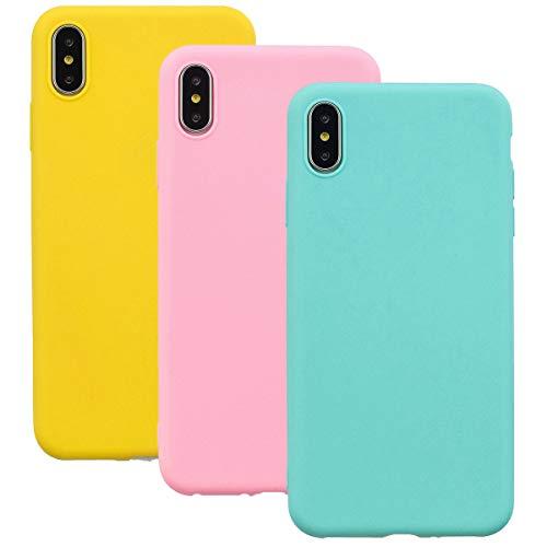 Misstars Silikon Hülle für iPhone X/iPhone XS, Soft Flex TPU Case im Candy Design Ultra Dünn Matt Weich Handyhülle Anti-Stoß Kratzfeste Schutzhülle für iPhone X/XS / 10 (5,8