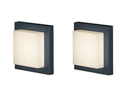 Trio Eckige LED Außenwandleuchte Aluminium Anthrazit - im 2er Set - vielseitige Außenbeleuchtung für Haus und Terrasse - Outdoor-beleuchtung Deckenleuchte