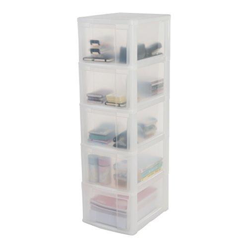 Iris Schubladenschrank/Schubladenbox/Rollwagen/Rollcontainer/Werkzeugschrank 'New Chest', NMC-305, mit Rollen, Kunststoff, frostweiß/transparent