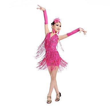 kekafu Wir Latin Dance Kleider Kinder Leistung Spandex/Polyester Pailletten Quaste (s) Dance Kostüme mit Ohrringen, Fuchsia, 140