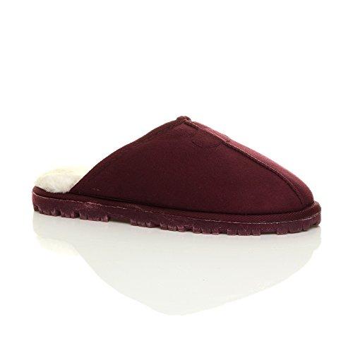 Hommes hiver fourrure luxe chaud confortable cadeau pantoufle chaussons pointure Bordeaux rouge foncé