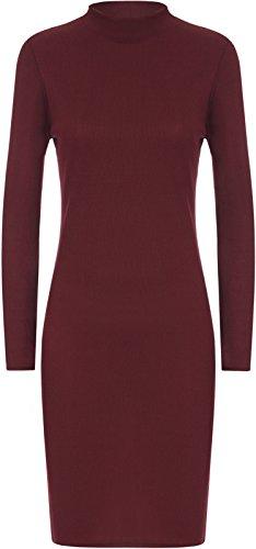Comfiestyle - Robe - Moulante - Manches Longues - Femme Bordeaux