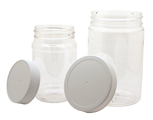 J&S Kunststoffgläser mit Schraubdeckel, 8 Stück, transparent, BPA-frei, PET-Quart 32oz und 4Pint-Größen, 473 ml, mit weißen Verschlusskappen, 8 Stück (Food Container Mit Schraubdeckel)
