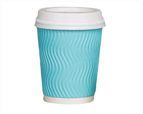 inweg Ripple Wand Papier Tassen Kaffee Tee Papier Tassen & Weiß Sip Deckel Einweg Geschirr für Kalten Hot Getränke Takeaway Travel Becher Party Tassen 226,8 g (8 oz) blau ()
