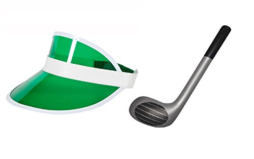 Fancy Dress Visor Golf Hat With Novelty Inflatable/ Blow Up Golf Club-Green