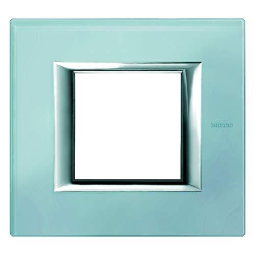 Bticino HA4802VZS Rahmen rechteckig 2 Module Glas Blau