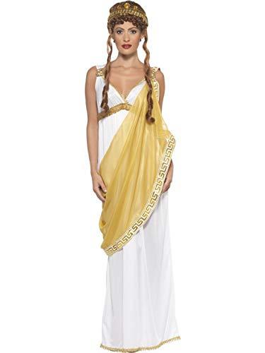 Halloweenia - Damen Frauen griechische Göttin Helena von Troja Kostüm, Kleid mit Goldener Schärpe und Diadem, perfekt für Karneval, Fasching und Fastnacht, S, Weiß
