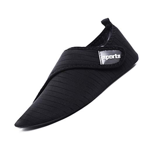 APTRO Herren Aquaschuhe Badeschuhe Unisex Strandschuhe für Yoga Wassersport Klettverschluss K01 Schwarz 40/41 EU