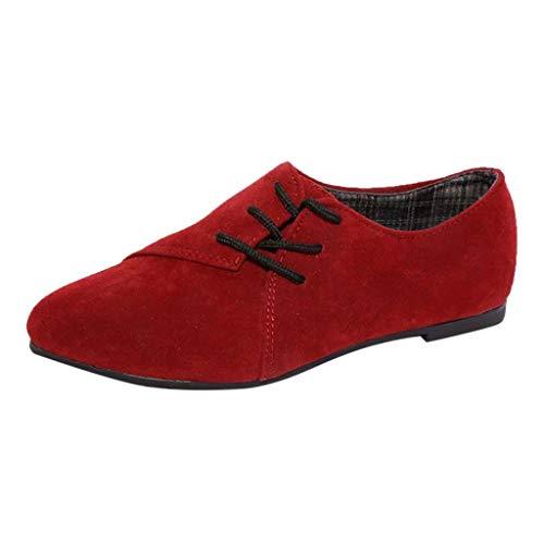 BHYDRY Zapatos Retro Mujer Zapatos Cordones Casuales