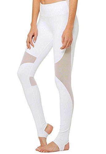 CROSS1946 Damen Sport Mesh Design Fitness Tights Yoga Hose Legging Weiss-G34 Large (Weiße Yoga-hose Capri)