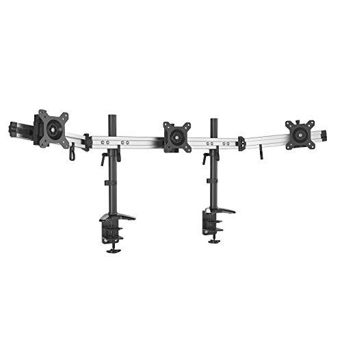 HFTEK 3-Fach Monitorarm - Tischhalterung für 3 Bildschirme von 15 - 27 Zoll mit VESA 75 / 100 (MP230C-N) - Äußere Scharnier
