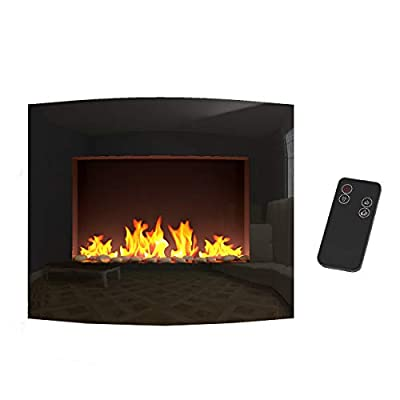 elevenfurniture Wall Mounted Electric Fireplace Glass Heater Fire Remote Control Burner Heat