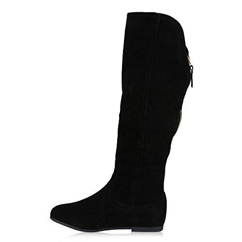 Stiefelparadies Warm Gefütterte Stiefel Damen Winterstiefel Wildleder-Optik Boots Schnallen Profilsohle Winter Schuhe Flandell Schwarz Bernice