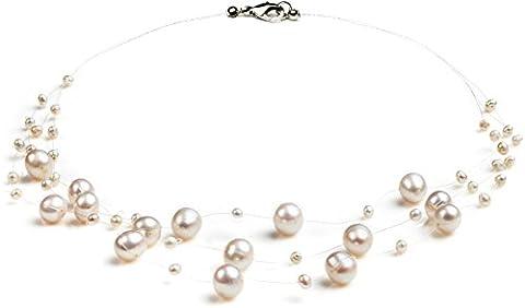 PearlsOnly - Blanc 3-9mm perles d'eau douce -Collier de