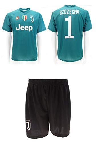 Completo juventus szczesny 2019 ufficiale stagione 2018/2019 replica autorizzata portiere juve verde maglia + pantaloncini (12 anni)
