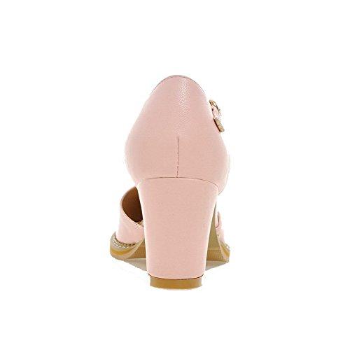 AgooLar Femme Boucle Pu Cuir Pointu à Talon Correct Couleur Unie Chaussures Légeres Rose
