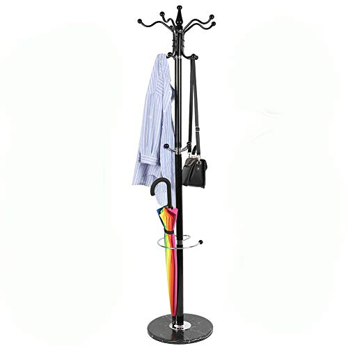 Flyelf attaccapanni cappello cappotto stand rack hook jacket umbrella hanging 5 branched black 176,5cm x 41cm x 38cm