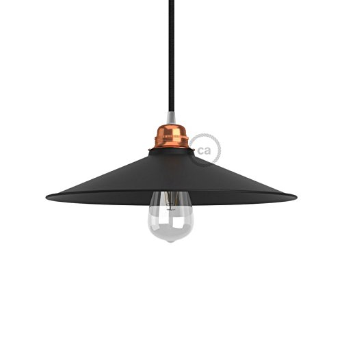 creative-cables pam13vno Lampenschirm Swing E27Teller konkav, Beschichtung in Lack satiniert, Schwarz