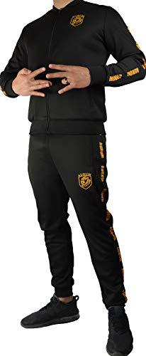 Aurum Passion Suit/Trainingsanzug/Track Suit/Jogging Anzug/Streetwear/Jogginghose   Jacke, Schwarz Gold Gelb, M